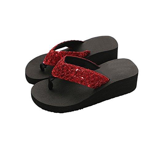 Women Platform Slide Sandals,Summer Sequin Wedge Flip-Flops Indoor Outdoor Open Toe Beach Slippers (Red, US 6)