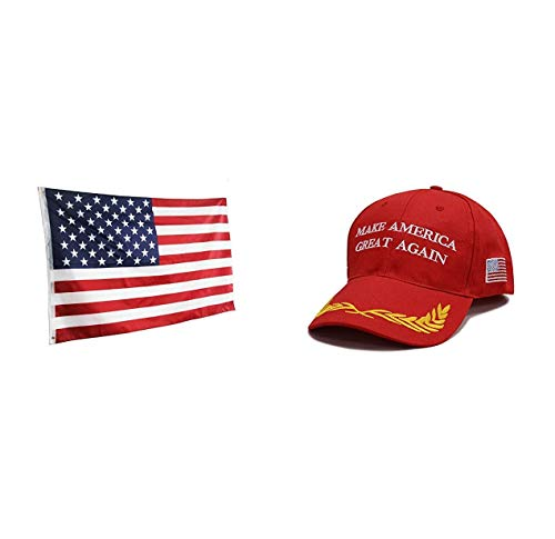 Make America Great Again Hat with American Flag (3 x 5FT), Donald Trump USA MAGA Cap Adjustable Baseball Hat - Ball Cap Confederate Flag