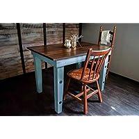 Dining Kitchen Nook Farmhouse Table - Solid Wood - Sugar Mtn Woodworks - Distressed Provence Blue, Dark Wood, Work Desk, Computer Desk