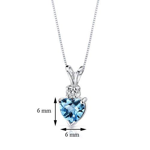 14 Karat White Gold Heart Shape 1.00 Carats Swiss Blue Topaz Diamond Pendant by Peora (Image #2)
