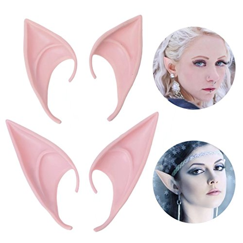 Aradani Costumes Anime Elf Ears (2 Different Pair Fairy Pixie Elf Ears Cosplay Accessories Halloween Party Pointed Prosthetic Tips Ear)