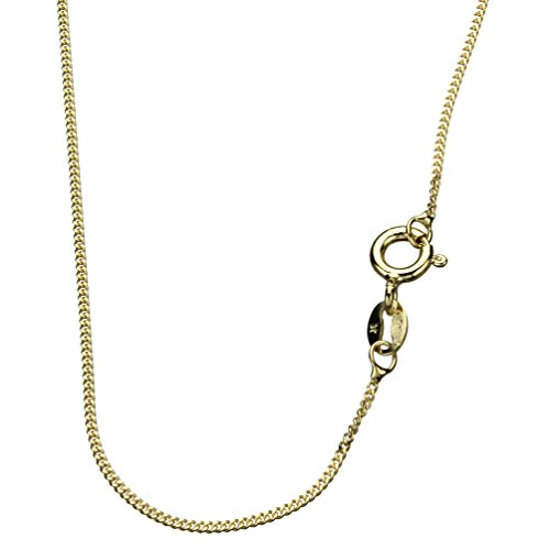 - 18k Gold-Flashed Sterling Silver 1mm Diamond-Cut Curb Nickel Free Chain Necklace Italy, 18