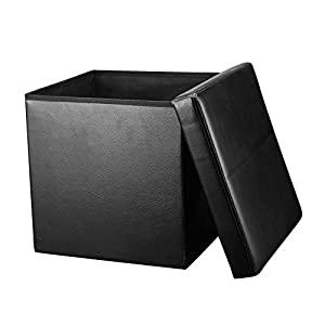Folding Storage Ottoman Homkit Large Faux Leather Folding Storage Box with Lid Non - Toxic / Nil Odor Cube Foot Rest Stool Seat Black  sc 1 st  Amazon.com & Amazon.com: Folding Storage Ottoman Homkit Large Faux Leather ... Aboutintivar.Com
