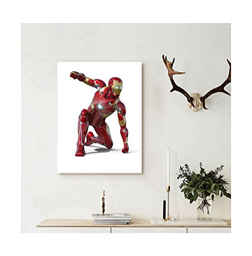 Liguo88 Custom canvas Superhero Wall Hanging Robot Transformer Hero with Superpowers in Costume Cyber Man Fun Character Picture Decor White Maroon