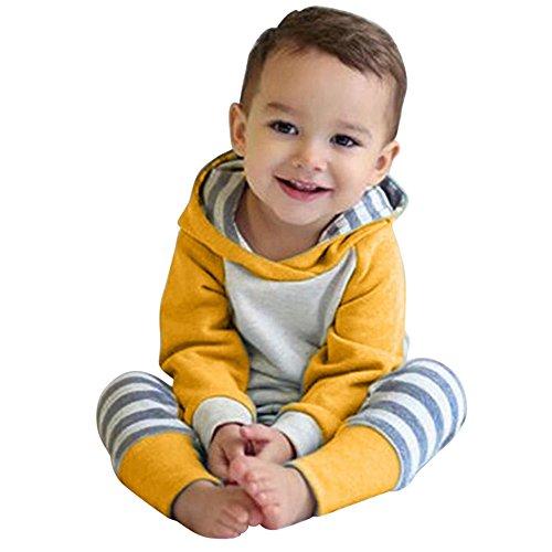 Perman 3PCS Newborn Baby Girls Hoodie Tops+Pants+Headband Outfits (12-18Months / 90CM, Yellow)