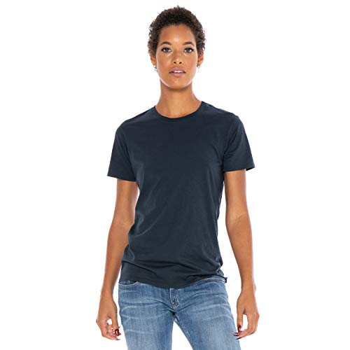 (Women's Designer T-Shirt Short Sleeve Crew Neck Lightweight Luxury Organic Cotton Embroidered Pre-Shrunk - Made in USA (Navy Blue,)