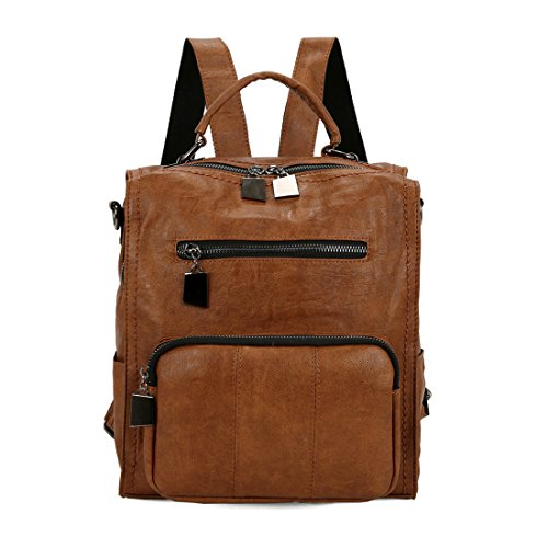 Backpack Purse Leparvi Pu Leather Handbag Cute Tote Girl Large Capacity Satchel (Brown)