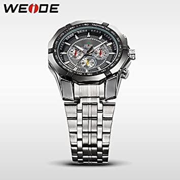 Amazon.com : Fashion Watches WEIDE Mens Sports Watch Military Full Steel Quartz Luxury Waterproof Wristwatch (Color : Black, Size : One Size)  : Sports & ...