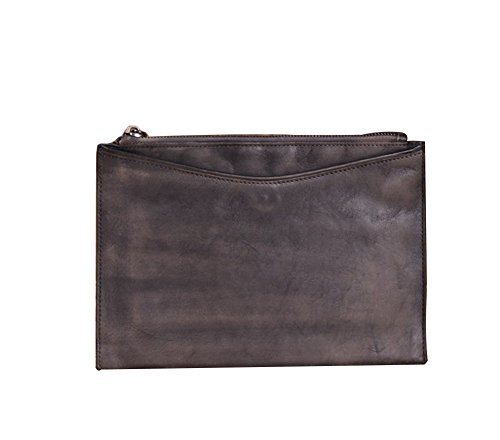 (Genda 2Archer Vintage Slim Documents Handbag Business Wristlet Clutch Bag with Card Slots (Grey))