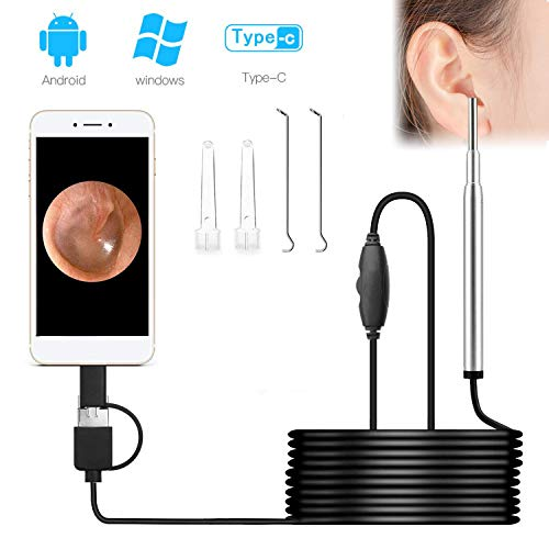 Otoscope Camera Ear Endoscope USB 3.9mm Small Lens 720P HD 2.0 Mega Pixel Borescope Inspection Camera Visual Earpick Tool with 6 Adjustable Led Compatible for Android, Windows & MacBook