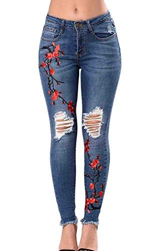 Fori Blue Lungo Jeans Strappato Distrutto Le Donne Embroided B1axq8I