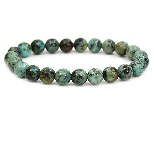 Amandastone Natural A Grade African Turquoise 8mm Round Beads Stretch Bracelet 7