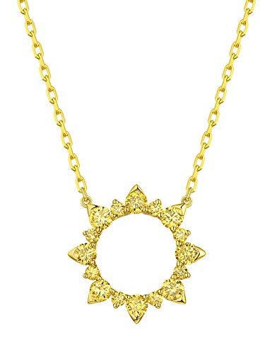 Prism Jewel Scorching Sun Style 0.49Ct Round SI1 Yellow Diamond Necklace Crafted In 14k Gold, 14k Yellow Gold