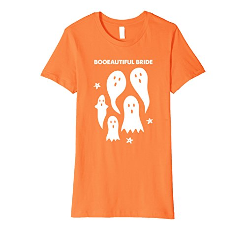 Ghost Bc New Costumes (Womens Funny Halloween T-Shirt - Ghosts - Booeautiful Bride Small Orange)