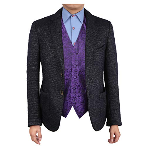 Epoint EGC1B05B-XL Blue Violet Patterned Marketing Management Vest Woven Microfiber Waistcoat Designer Mens Vest X-Large Vest -