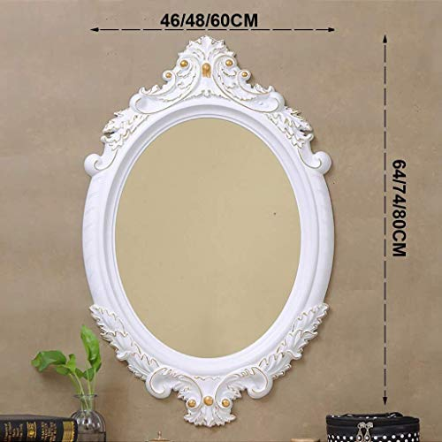 Bathroom Mirror Vintage Carving Ellipse Wall-Mounted Pine Wooden Large Frame Vanity Mirror with Wall Hanging Fixing Hardware White Gilt Edge (Size : 48CMx74CM)