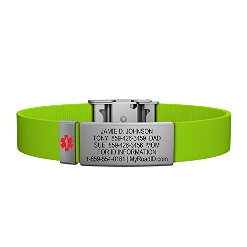 Road ID Medical Alert Bracelet - the Wrist ID Elite and Medical Alert Badge - Stainless Classic - Personalized Medical ID Bracelet and Child ID - Fits Adults & Kids (Lime) (Bracelet Med Id)