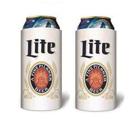 Miller Lite Throwback Vintage Beer Can Cooler 16 Oz Coolie Huggie 2-pack