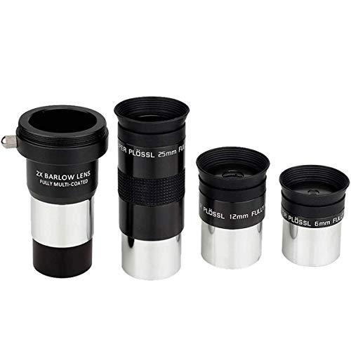 SVBONY Telescope Eyepieces Plossl Eyepiece Telescope Accessory Kit FMC Glass Lens 48 Degree FOV 4-Element Design 6mm 12mm 25mm with Barlow Lens 2x