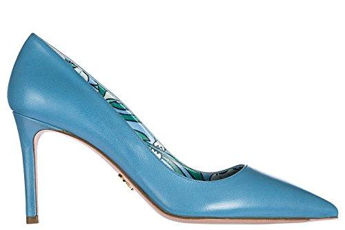 Prada Zapatos de Salón Escotes Mujer EN Piel Nuevo Blu