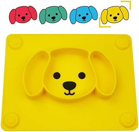 Portable Baby Plates for Toddlers and Kids 6Puppy-Turq Qshare Toddler Plate Dishwasher /& Microwave Safe Silicone Placemat 28 * 20 * 2.5cm BPA-Free FDA Approved Strong Suction Plates for Toddlers