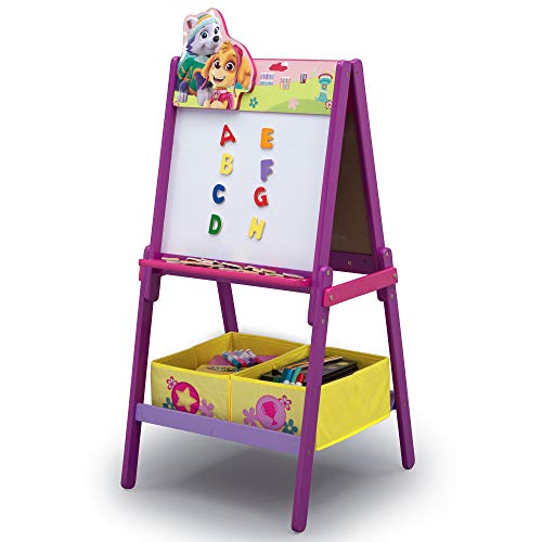 Delta Children Wooden Double-Sided Easel with Storage, Nick Jr. PAW Patrol Skye & Everest