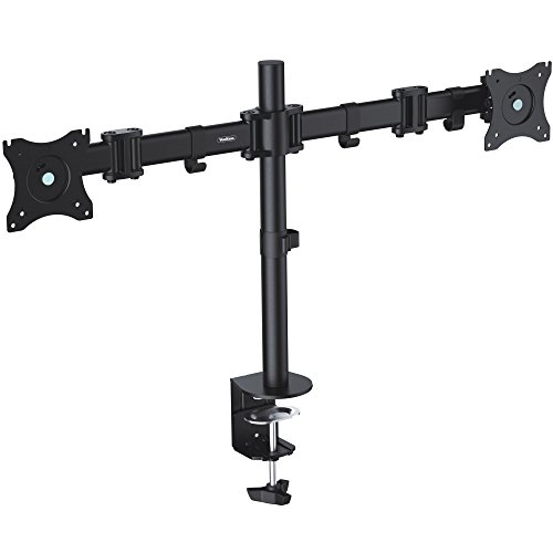 """VonHaus Dual Monitor Desk Mount Stand with Clamp for 13""""-27"""" LED LCD Screens with ±45° Tilt, 360° Rotation & 180° Pull Out Swivel Arm Bracket - Max VESA 100x100"""