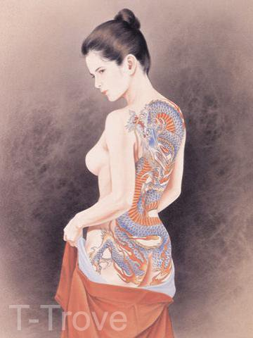 Tattoo Japanese Lady Wall Scroll Q8