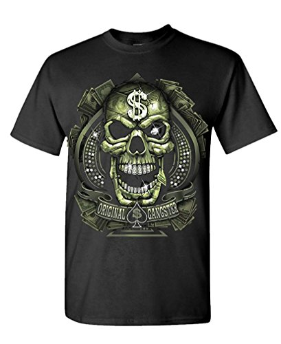 Original Gangster Skull Cash Money Biker - Mens Cotton T-Shirt, S, Black
