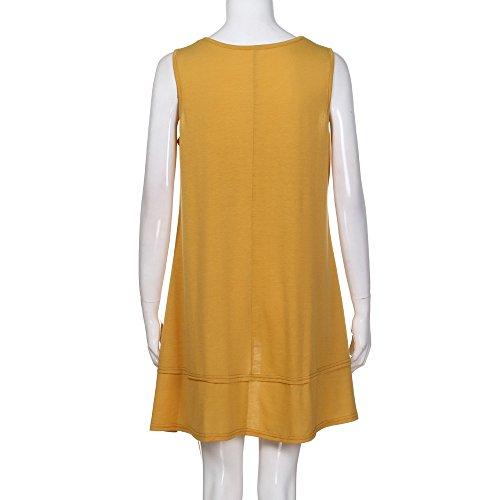 Tank Tops for Women, Kaitobe Womens V-Neck Ruffle Layer Asymmetric Hem Tunic Sleeveless Cami Vest Blouse Tops Yellow by Kaitobe Vest (Image #3)