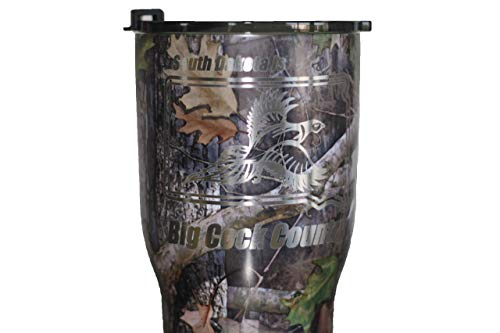 (Thomas and Son Designs Pheasant Hunting Gift 30 oz Stainless Steel Double Wall Insulated Double Engraved Tumbler SD Big Camo)