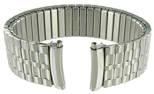 18-22mm Men's Curved End Classic Expansion Stainless Steel Watchband Replacement