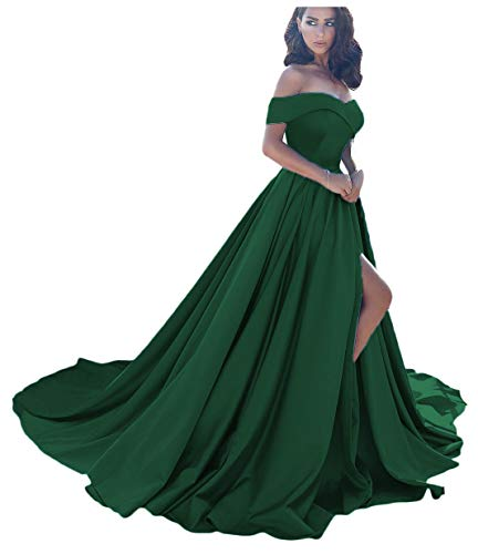 - Dressesonline Women's Off Shoulder A Line Split Prom Evening Dresses Long Formal Gown US8