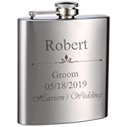 Top Shelf Flasks Personalized Custom Engraved 6oz Stainless Steel Flasks for Weddings, True Metal Etching Lasts a Lifetime, 1PK