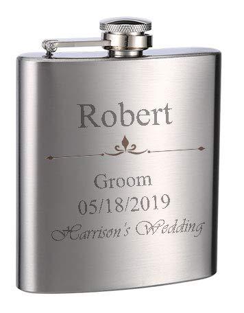 Top Shelf Flasks Personalized Custom Engraved 6oz Stainless Steel Flasks for Weddings, True Metal Etching Lasts a Lifetime, 1PK (Best Stainless Steel Flask)