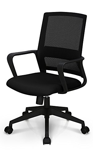 Neo Chair High End Air Mesh and Nylon Base Managerial Conference Room Office Chair Ergonomic Lumbar Support Computer Desk Chair Adjustable Swivel Mid Back Task Chair Rolling Armrests Stool, Black