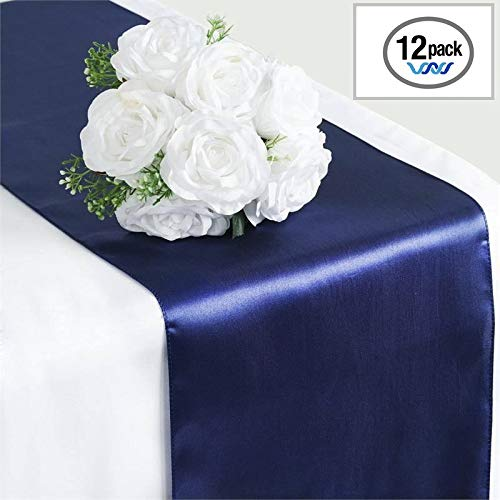 (Wavewater Navy Blue Satin Table Runners 12-Pack (12 x 108 inch) Long, Elegant, Decorative Party Decor | Wedding, Banquet, Graduation, Business Events | Fits Rectangular & Round Surfaces)