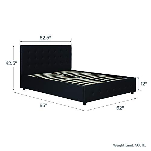 DHP Cambridge Upholstered Faux Leather Platform Bed with Wooden Slat Support and Under Bed Storage, Button Tufted Headboard Queen Size – Black
