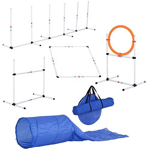 (PawHut 5 Piece Outdoor Game Dog Agility Training Equipment Set Agility Starter Kit Jumping Ring Hurdle Bar Tunnel)