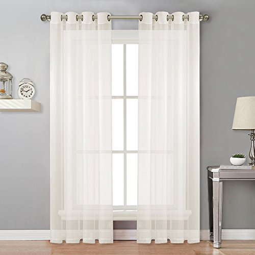 (NICETOWN Sheer Curtain Panels Ivory - Eyelet Top Solid Voile for Kitchen/Hotel, Off White=Ivory, 2 Pieces, 54 Wide x 84-inch Length,Ivory)