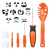 #7: BOBOO Pumpkin Carving Set Halloween Engraving Set Child Carving Tools, 5 Pumpkin Carving Kits, 2 LED Candles and 10 Halloween Style Molds - Pumpkin Party Decoration