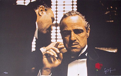 Leos Coffers Artwork by Steve Schapiro Godfather The Whisper Hand Signed Ltd Ed Lithograph Print. After The Original Painting or Drawing. Marlon Brando Measures 34.5