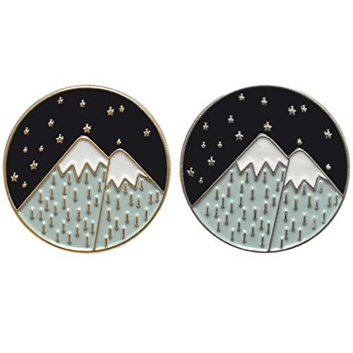 Charmart Snow Mountain Stars Hiker Lapel Pin 2 Piece Set Nature Adventure Travel Lover Enamel Brooch Pins Badge Gifts