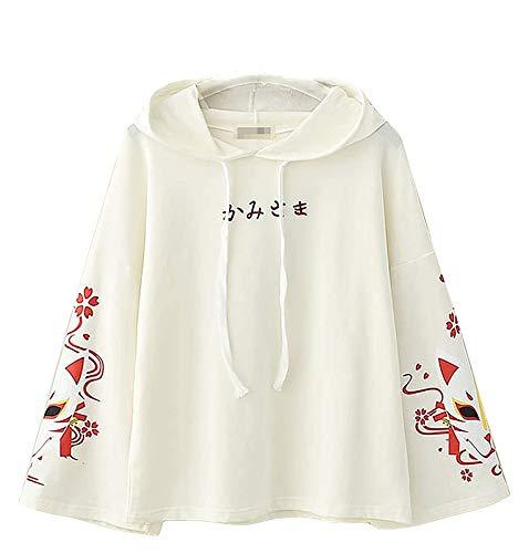 Japanse Korte mouw hoodie met schattige vos print voor meisjes Kawaii Japanse alfabet pullover met lange mouwen