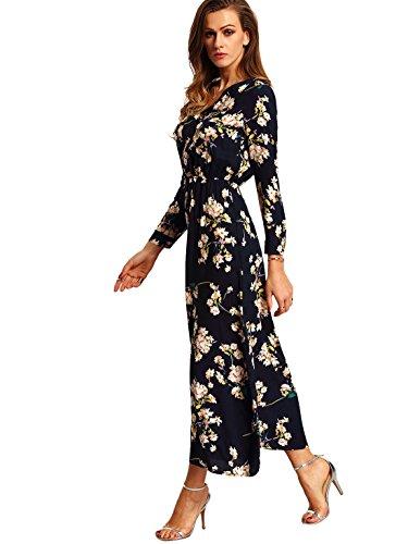 Milumia Women's Boho Long Sleeve Floral Print Beach Party Maxi Dress Navy L