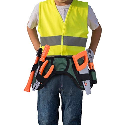 Diy Construction Worker Halloween Costume (Fanteecy Construction Worker Costume Role Play Kit Set with Accessories,STEM Educational Play Kids Toy Tool Set for Cosplay)