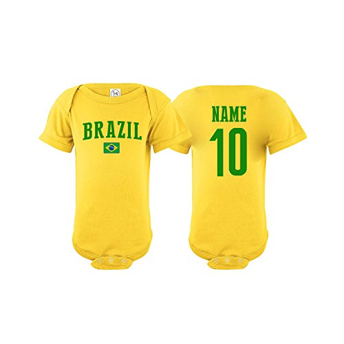 (nobrand Brazil Bodysuit Flag Soccer Ball Infant Baby Girls Boys Personalized Customized Name and Number (T-Shirt 3T))