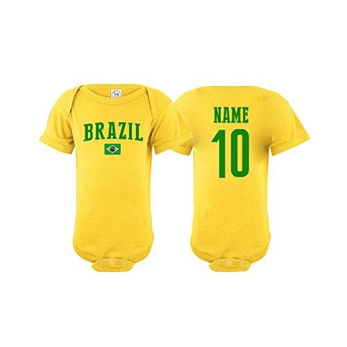 nobrand Brazil Bodysuit Flag Soccer Ball Infant Baby Girls Boys Personalized Customized Name and Number (Bodysuit 6M)