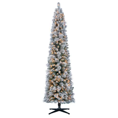 Holiday Time 7ft Pre-Lit Flocked Pencil Colorado Artificial Christmas Pine Tree with 250 Clear Lights (Colorado Tree Christmas)