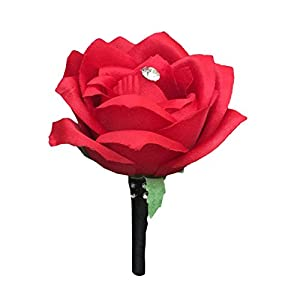 Boutonniere - Red Rose with Rhinestone Decor 9